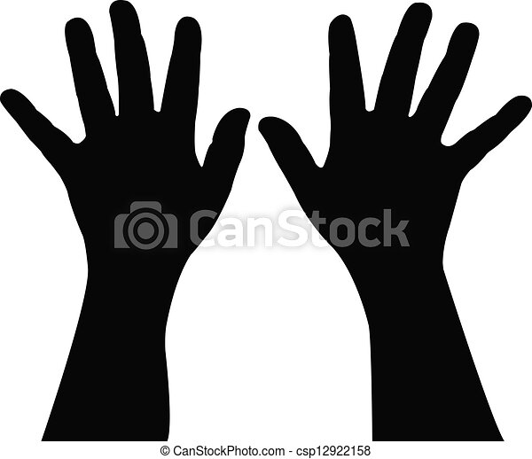 Vecteur clipart de paire enfant main silhouette - Dessin main enfant ...