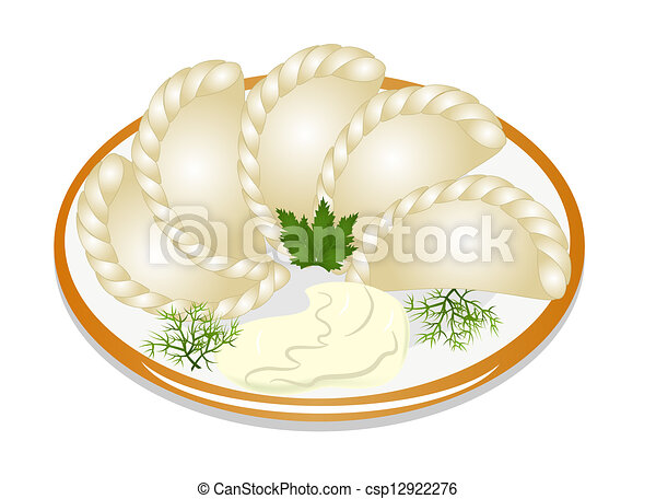 pastelitos, placa, crema agria - csp12922276