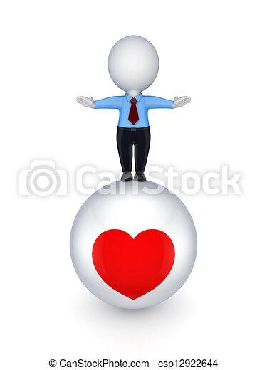 Disegno di 3d piccolo persona palla cuore simbolo for Disegno 3d free