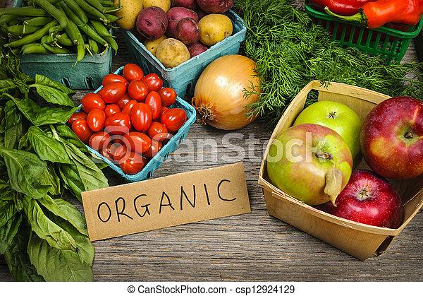 蔬菜, 有机, 市場, 水果 - csp12924129
