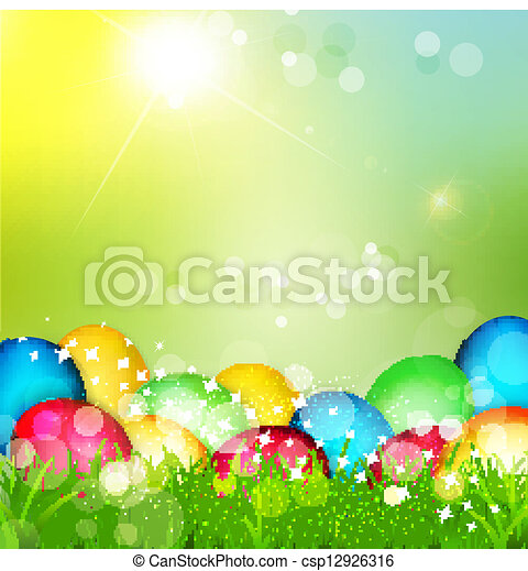 painted Easter eggs lying in the grass  - csp12926316
