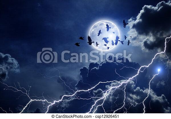 Raven Flocks Stormy Sky Flock of Ravens