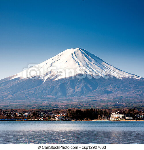 Mt Fuji view from the lake - csp12927663