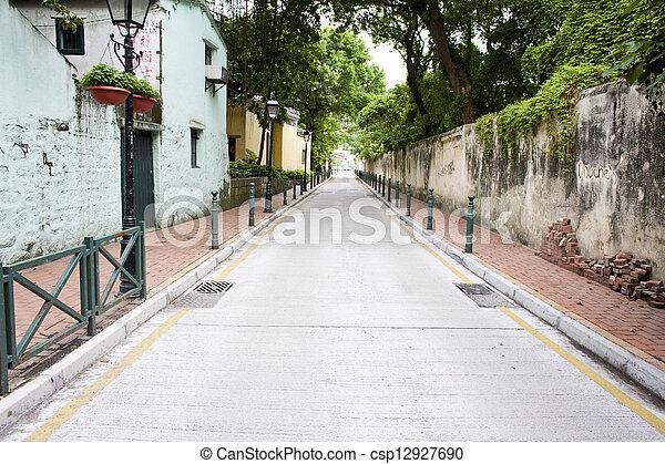 Street in residential area of Macau - csp12927690