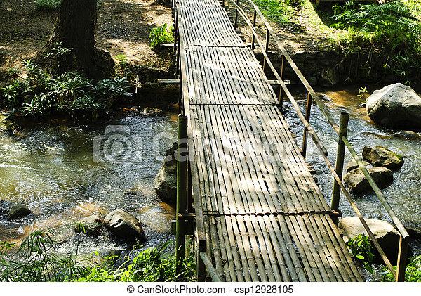 Bridges, bamboo, tropical rain forests,Thailand - csp12928105