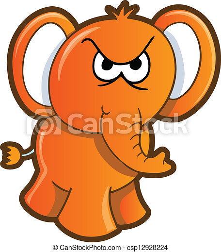 Vector Illustration of Angry Elephant Vector csp12928224 ...