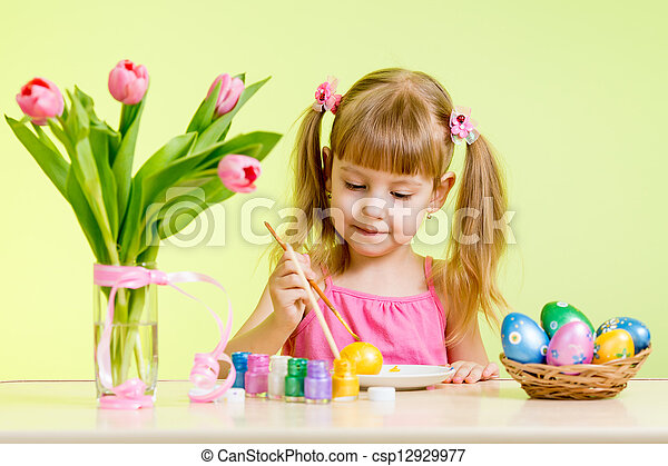 cute kid girl painting Easter eggs - csp12929977