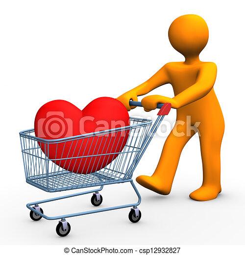 Art of Shopping Cart Heart - Orange cartoon character with shopping ...