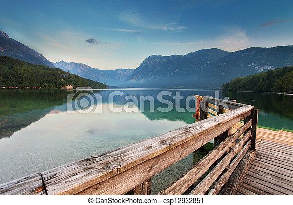 Beautiful view. Lake, mountain, reflection. Lake Bohinj. Slovenia - csp12932851