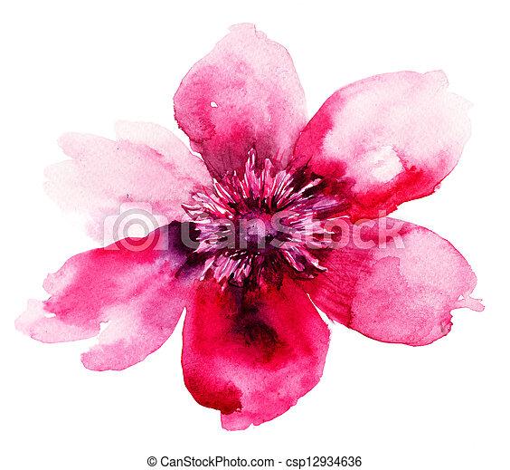 Beautiful Pink flower, Watercolor painting