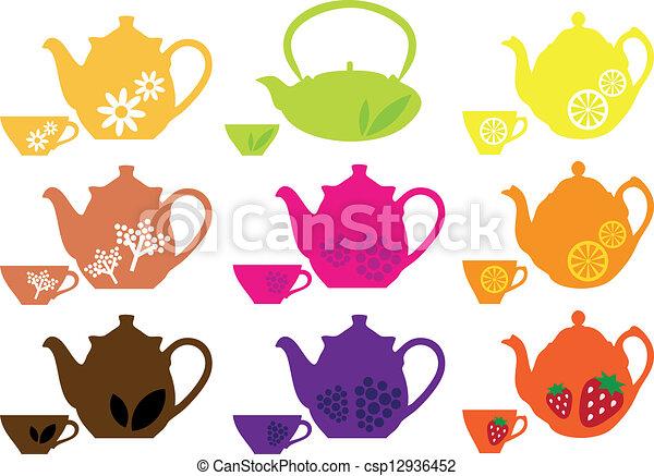 Clipart Vector of tea pots and cups with fruits - set of tea pots ...