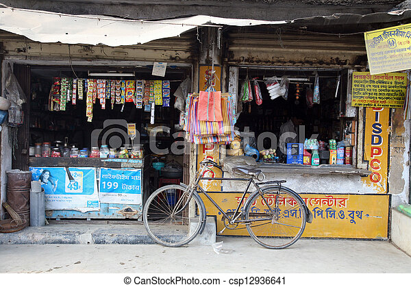 Old grocery store in a rural place in Kumrokhali, West Bengal, India - csp12936641