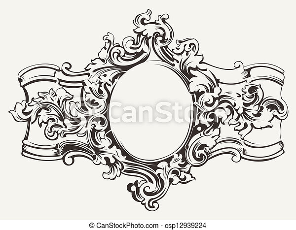 Antique Ornate Frame Engraving - csp12939224