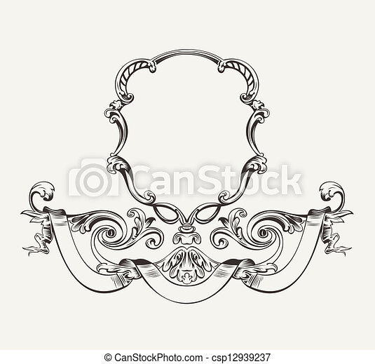 Antique Luxury High Ornate Frame And Banner - csp12939237