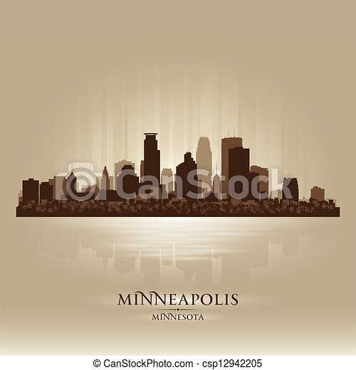 Minneapolis Minnesota skyline city silhouette - csp12942205