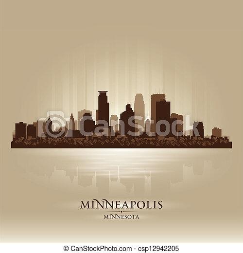 Minneapolis Minnesota skyline city silhouette - csp12942205