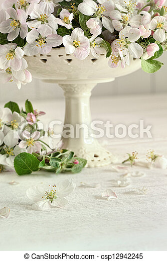 Apple blossom flowers in vase - csp12942245