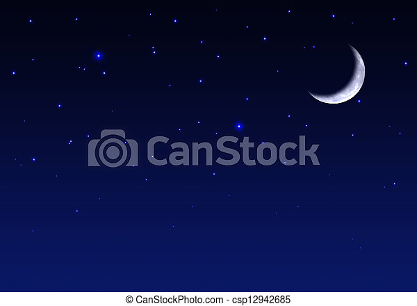 Beautiful Night sky with moon and stars - csp12942685
