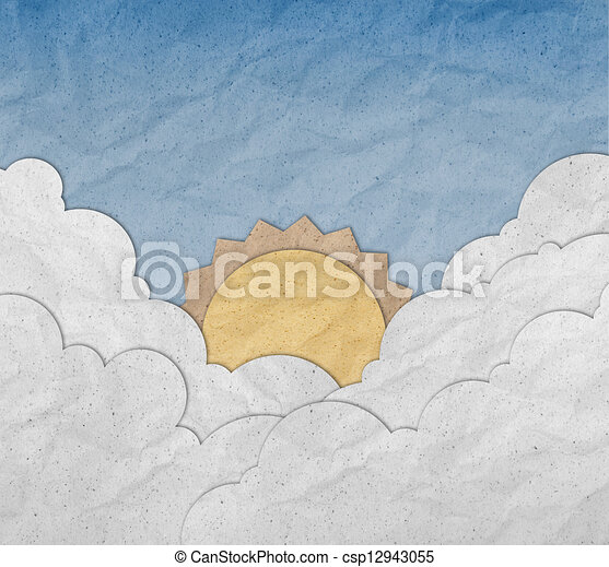 Sunrise with blue sky and cloud made from recycled paper craft  - csp12943055
