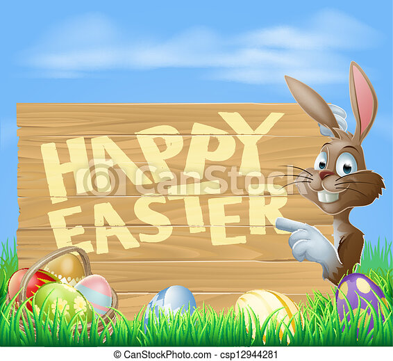 Easter bunny Happy Easter Sign - csp12944281
