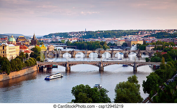 Prague Bridges - csp12945219