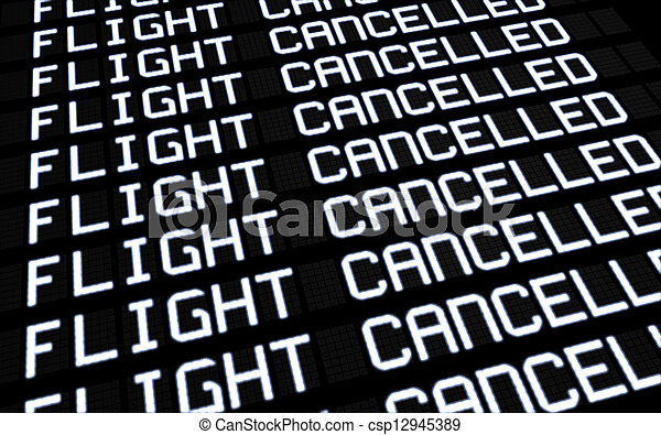 Airport Board Cancelled Flights - csp12945389