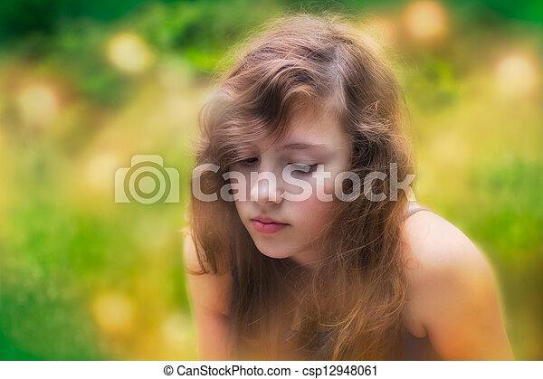 Stock beeld van tiener verlegen n buiten alleen meisje verlegen csp12948061 zoek - Tiener meisje foto ...