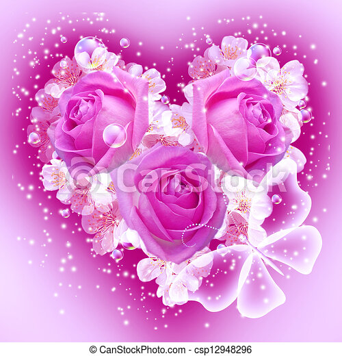 stock illustration of flowers in heart shape  card with bouquet, Beautiful flower