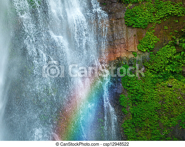Waterfall with rainbow and green plants - csp12948522
