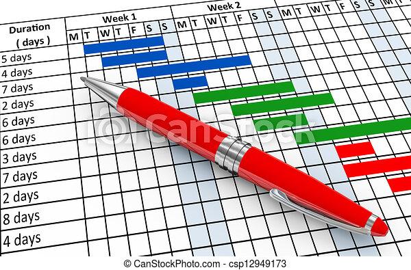 clip art of 3d gantt chart progress 3d render of closeup of