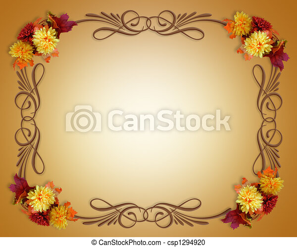 Thanksgiving Fall Autumn Border - csp1294920