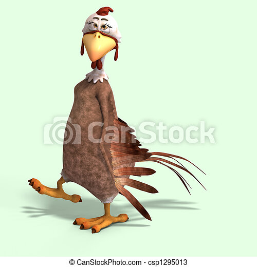 crazy cartoon chicken - csp1295013