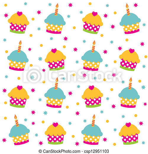 Birthday seamless vector pattern - csp12951103