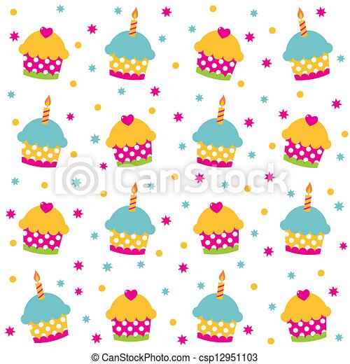 Birthday seamless vector pattern - csp12951103