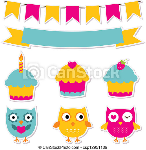 Birthday party stickers set  - csp12951109