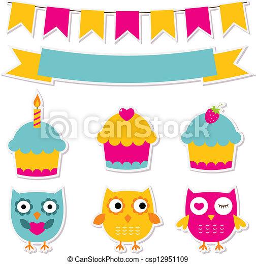 Birthday party stickers set  - csp12951109