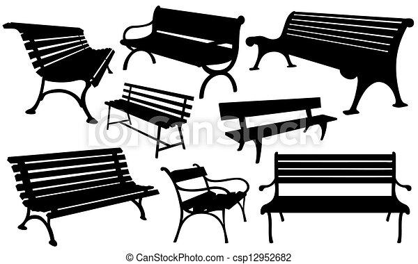Vector de bancos conjunto de bancos aislado en - Imagenes de bancos para sentarse ...