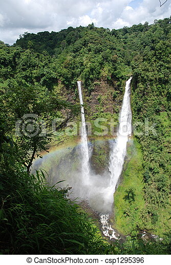 amazing waterfall in laos - csp1295396
