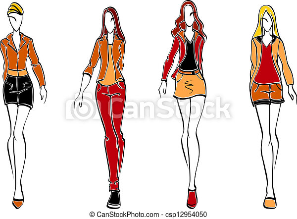 EPS Vector of Casual Teenagers Posing - Full body illustration of ...