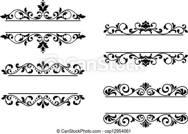 Decorative frames set download free vector art stock graphics - Clip Art Vector Of Floral Headers And Borders In Retro