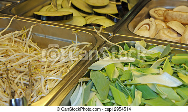 raw bean sprouts and bamboo in Asian restaurant for sale