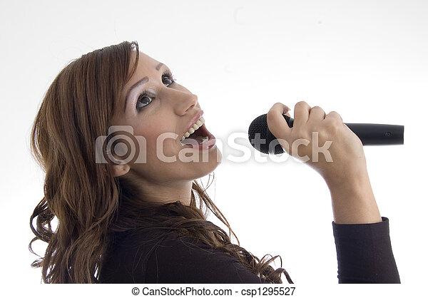 micrófono, mujer, canto - csp1295527
