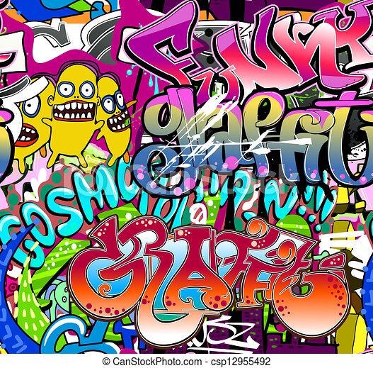 Graffiti wall. Urban art vector background. Seamless hip hop texture - csp12955492