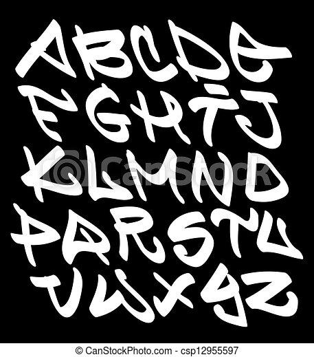 Graffiti fonte alfabeto letras quadril pulo tipo grafitti