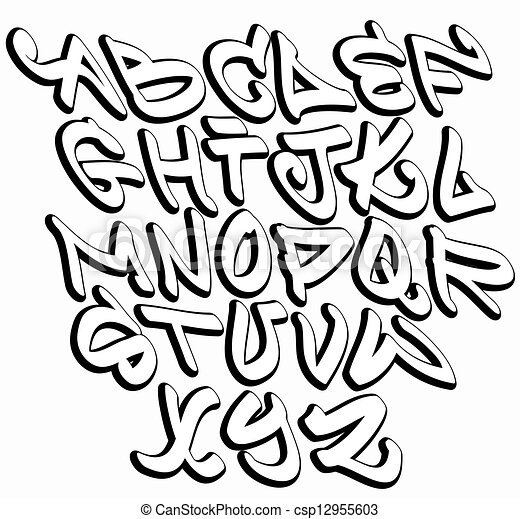 Alfabeto de Letras Graffitis Graffiti Fonte Alfabeto