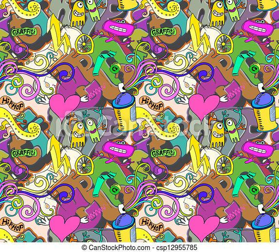Graffiti background. Urban art seamless vector design - csp12955785