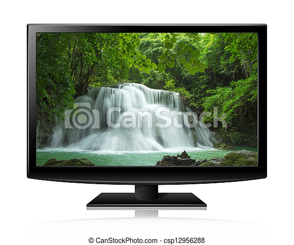 Flat screen tv lcd or led realistic illustration with nature wallpaper - csp12956288