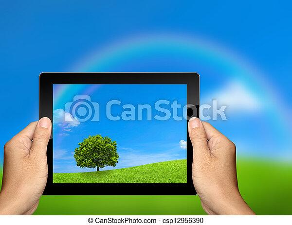 capture the nature landscape with tablet computer - csp12956390