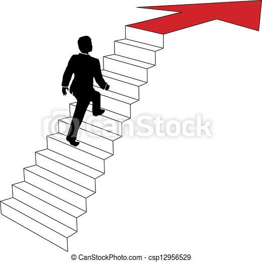 Business man climbs up arrow stairs - csp12956529