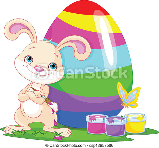 Cute Bunny and Easter Egg - csp12957586